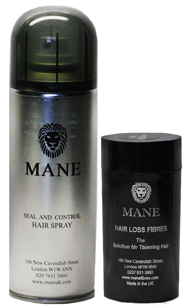 MANE vlasová vlákna 15 g + Mane Sealer 200 ml Černá