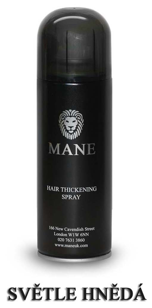 MANE vlasový zesilovač - SVĚTLE HNĚDÝ - sprej pro dodání hustoty řídnoucím vlasům 200ml